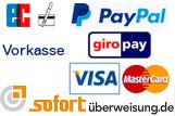 Bei uns können Sie per Kreditkarte, Paypal, Vorkasse und sofortüberweisung bezahlen.