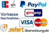 Bei uns können Sie per Rechnung, Kreditkarte, Paypal, Vorkasse, Nachnahme und sofortüberweisung bezahlen.