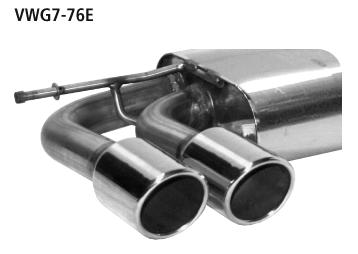 Bastuck Endschalldämpfer mit Doppel-Endrohr LH 2 x Ø 76 mm, mit Lippe 20° schräg geschnitten für Golf 7 Diesel mit Soundgenerator incl. GTD