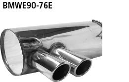 Bastuck Endschalldämpfer mit Doppel-Endrohr 2 x Ø 76 mm eingerollt 20° schräg geschnitten für BMW 318i / 320i / 320si bis Bj. 02/2007 Limousine(E90), Touring(E91)