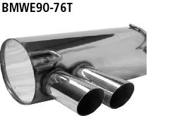 Bastuck Endschalldämpfer mit Doppel-Endrohr 2 x Ø 76 mm, 20° schräg für BMW 318i / 320i / 320si bis Bj. 02/2007 Limousine(E90), Touring(E91)