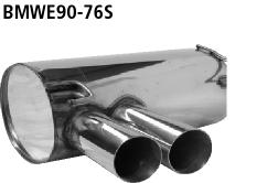 Bastuck Endschalldämpfer mit Doppel-Endrohr SLASH 2 x Ø 76 mm 20° schräg geschnitten für BMW 318i / 320i / 320si ab Bj. 02/2007 Limousine(E90), Touring(E91)
