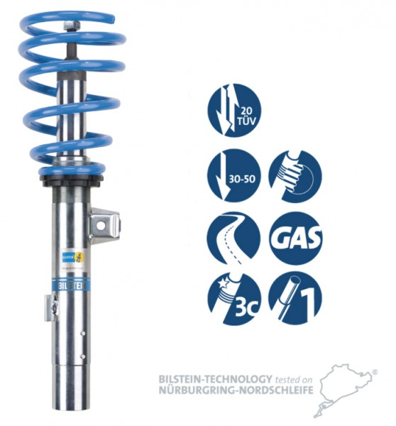 Bilstein B14 Gewindefahrwerk für Seat Leon inkl. SC / ST (5F1, 5F5, 5F8) Federbein mit 50mm / HA: Starrachse ab Baujahr 09/2012-