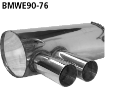 Bastuck Endschalldämpfer mit Doppel-Endrohr 2 x Ø 76 mm für BMW 318i / 320i / 320si bis Bj. 02/2007 Limousine(E90), Touring(E91)