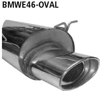 Bastuck Endschalldämpfer mit Einfach-Endrohr oval 153 x 95 mm BMW Typ: 320i / 323i / 328i bis Bj. 05/2000